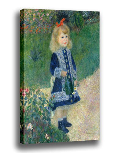 Canvas Print Wall Art - A Girl with a Watering Can- by Pierre Auguste Renoir - Giclee Prints Stretched in Gallery Wrap Style with Mirrored Edges - 10x14 inch ()