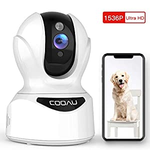 Dog Camera 3MP Pet Wi-Fi Camera, COOAU 1536P Baby Monitor 360 Pan/Tilt/Zoom Indoor Wireless IP Camera with AI Smart Motion/Sound/Face Detection, Night Vision, Two-Way Audio, Work with Alexa