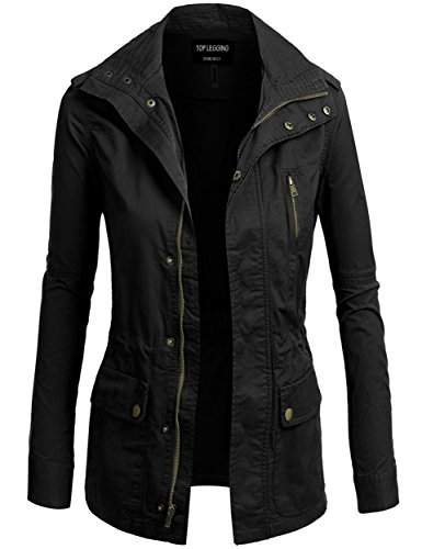 TL Women's Versatile Militray Anorak Parka Hoodie jackets with Drawstring NEW L06 BLACK S