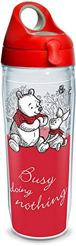 Tervis 1299949 Disney - Christopher Robin Busy Doing Nothing Insulated Tumbler with Wrap and Red with Gray Lid, 24oz Water Bottle, Clear