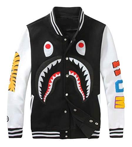 APE TEES Men's Sharks Head Casual Baseball Sweatshirts Jackets Black