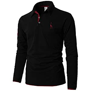 H2H Mens Casual Long Sleeve Button Up Slim Fit Sport Polo Shirts Black US L/Asia 3XL (KMTTL0452)