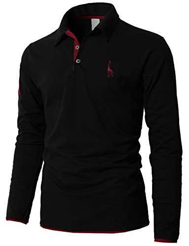 H2H Mens Retro Print Polo Long Sleeve T-Shirts with Giraffe Embroidery Black US XS/Asia M (KMTTL0452)