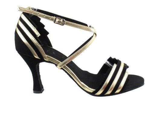 Ladies Women Ballroom Dance Shoes Very Fine EKSA1700 SERA 2.5'' Heel with Heel Protectors (8, Black Suede & Light Gold Trim)
