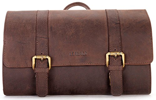 LEABAGS Palm Mountain genuine buffalo leather toiletry bag in vintage style - Nutmeg
