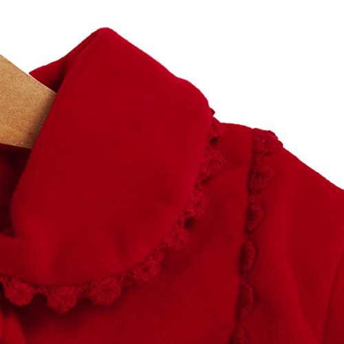TiTCool Toddler Baby Girls Autumn Winter Cloak Jacket Bow Overcoat Thick Warm Clothes (4T, Red) by TiTCool (Image #3)