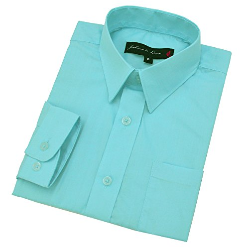 Johnnie Lene Big Boy's Long Sleeves Solid Dress Shirt #JL32 (14, Hawaiian Aqua)