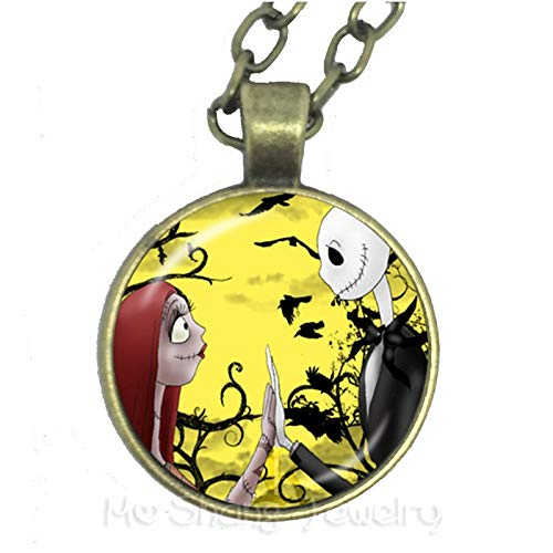 - CHITOP The Nightmare Before Christmas Jack Skellington Hyperbole Necklace Christmas Tree Santa Claus Necklace for Women Kids