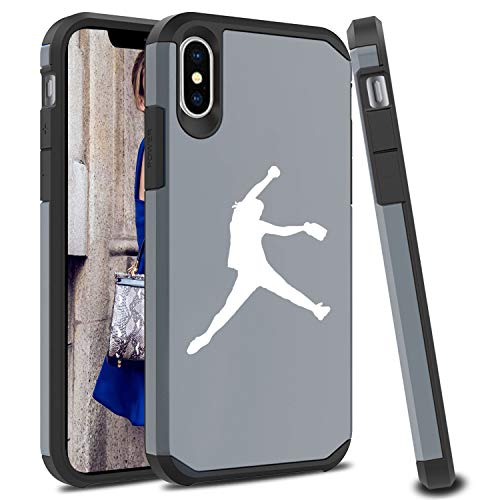(Shockproof SI Impact Hard Soft Case Cover Protector for Apple iPhone Female Softball Pitcher (Silver, for Apple iPhone XR))