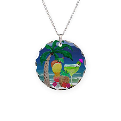 CafePress - Tropical Drinks On The Beach - Charm Necklace with Round Pendant