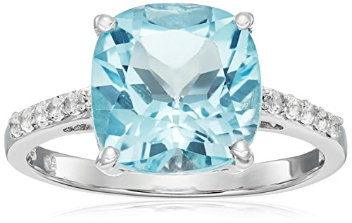 4.15 Carat Genuine Blue Topaz & White Topaz .925 Sterling Silver Ring