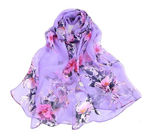 Print Silk Feeling Scarf Fashion Scarves Lightweight Shawl Scarf Sunscreen Shawls for Womens (peach blossom&purple)