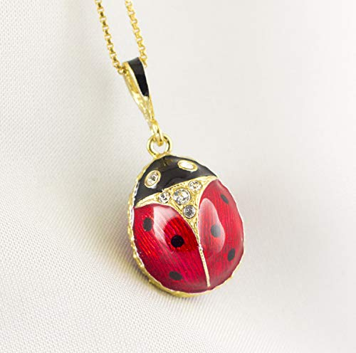 (Ladybug Enamel Pendant w Crystals and Black Dots Necklace For Women Sterling Silver 24 K Gold Vermeil Jewelry Charm)