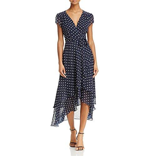 Betsey Johnson Women's Chiffon Dot Wrap Dress, Navy White, 10