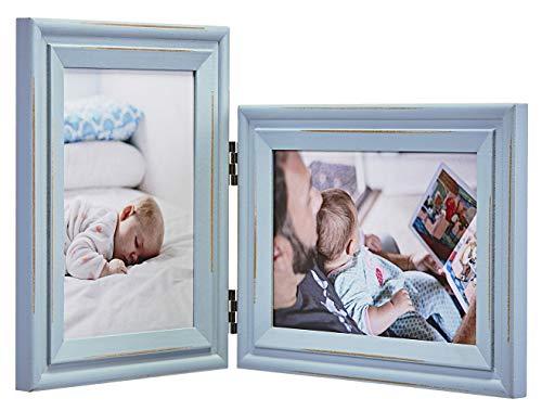 JD-Concept Vertical Horizontal Combo - Double 5x7 Soft Blue Folding Wood Collage Picture Frames - Portrait and Landscape View
