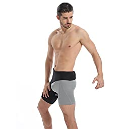 Groin Wrap, Adjustable Support for Hip, Groin, Hamstring, Thigh, and Sciatic Nerve Pain Relief