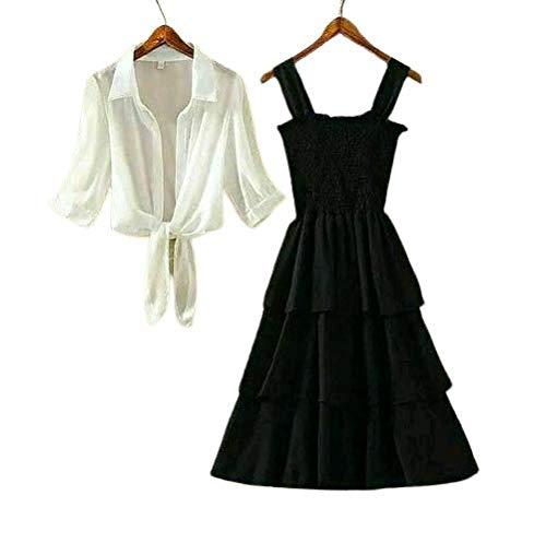 Milkyway Women Medium Stylish Long Ankle Length 3 Layer Elegant Dress with White Shrug – Black (m)