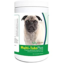 Healthy Breeds Dog One A Day Supplement Chewable Tabs for Pug - Over 80 Breeds – 180, 365 Chews – Formula for Young or Senior Pets – Easier Than Liquid, Powder