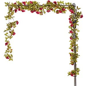 AlphaAcc 37 Feet-Artificial Vintage Rose Flower Garland Greenery Leaves Vines Home Party Wedding Wall Decoration Plants 36
