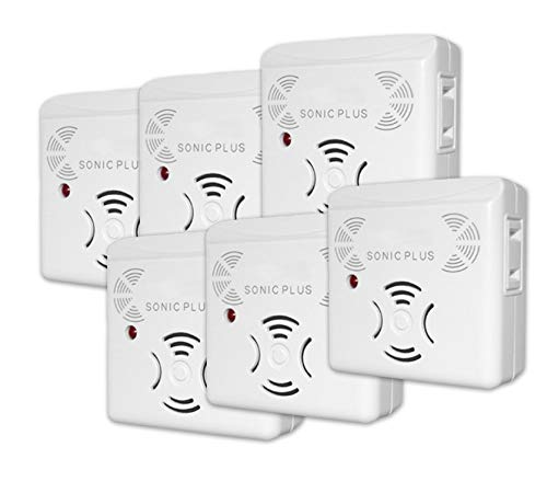 RIDDEX Sonic Plus Pest Repeller for Rodents and Insects, 6-Pack Indoor Repellent with Side Outlet, Get Rid of Roaches & Rodents Chemical Free
