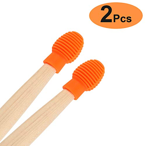Drum accessories 2 Pcs Drum Mute Drum Dampeners Silicone Drumstick Silent Practice Tips Replacement Musical Instruments Accessories Percussion Kits (Orange)