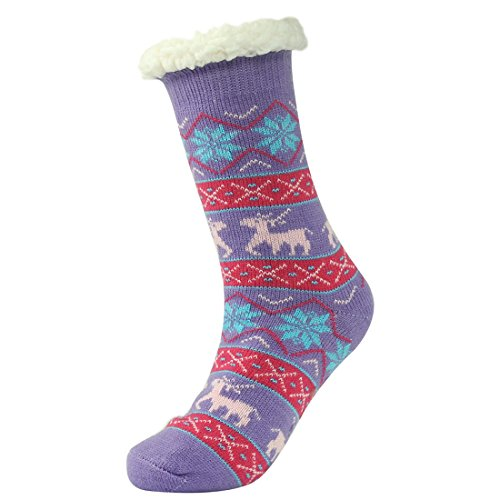 Forfoot Womens Winter Warm Thermal Fleeced Lined Knit Holiday Fuzzy Slipper Socks with Grippers Lilac 1jrrXJbXYD