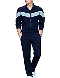 Ubasics Men's Zip Closure PullOnStyle Breathable Solid Tracksuits Dark electric blue 44