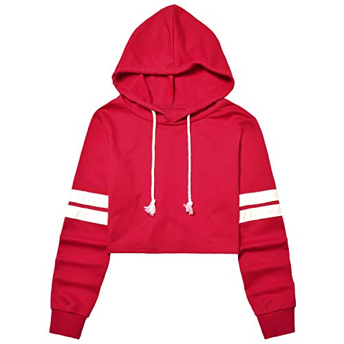 (Red Cropped Hoodie for Women Crop Sweatshirt Tops Loose Fit Pullover Shirt)