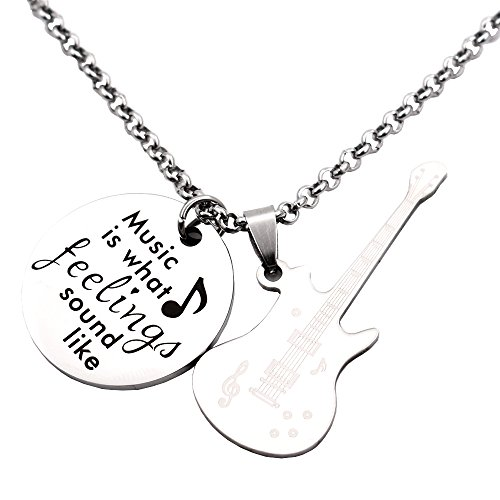 ce Guitar Pendant Inspirational Jewelry Quote Gift for Girl Teen Daughter Best Friend Birthday (Music Guitar Necklace)