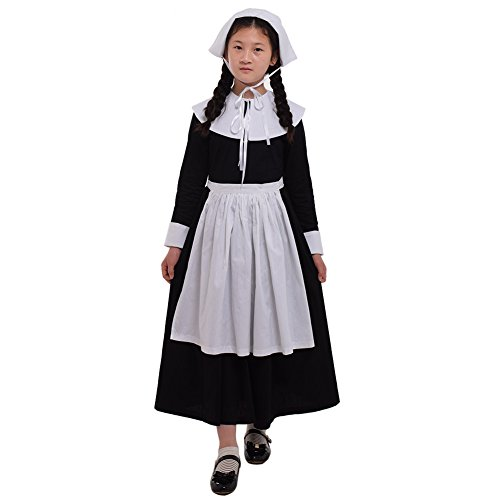 GRACEART 100% Cotton Pilgrim Girl Kids Colonial Puritan Costume (One Set Puritan Costume, US-10) -