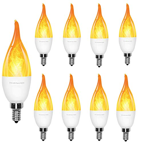 LED Flame Effect Light Bulb -  2 Watt Warm White LED Chandelier Bulbs,3 Modes with E12 Base LED Bulb - Flame Light  for  /Hotel/Bar / Party Decoration ( 9PARK )