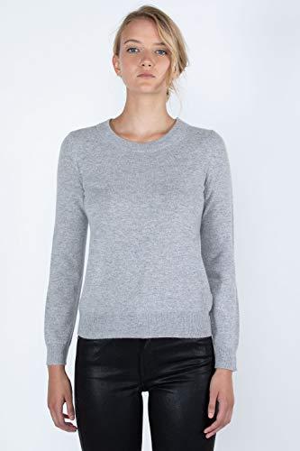 JENNIE LIU Women's 100% Pure Cashmere Long Sleeve Crew Neck Sweater (L, Lt Grey)