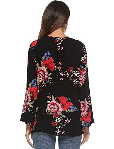 Classique Manches V Femme Shirts Casual Mousseline Elgante Vintage Fleur Branch Tops Fille Cou Large Chemise Printemps Noir Haut Blouse Motif Longues Automne O4Bq4