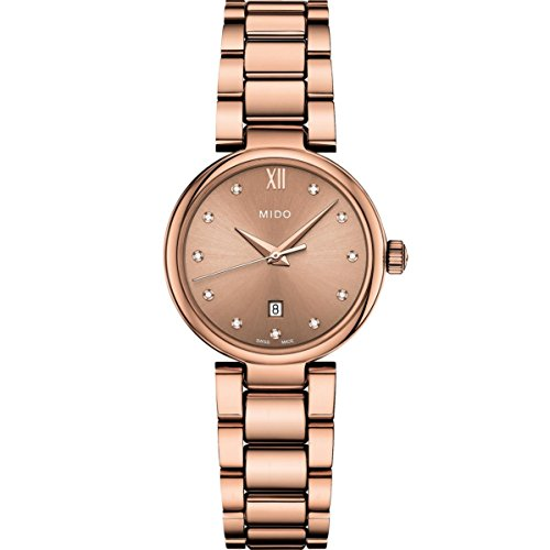 Mido Women's Baroncelli II Diamond 29mm Rose Gold Plated Bracelet & Case Quartz Watch M022.210.33.296.00