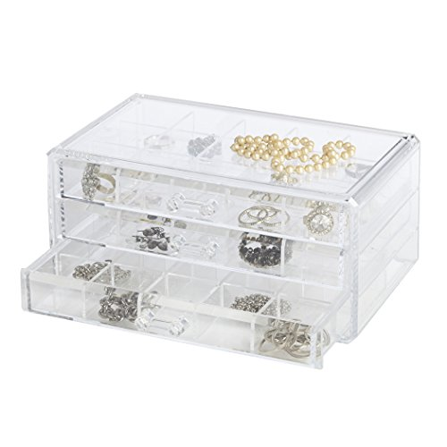 - Richards Homewares Clearly Chic Stackable 3 Drawer Organizer with Dividers