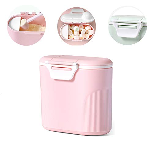 Travel Milk Powder Storage Box with Scoop, YEEHO Portable Formula Food Container with Spoon Airtight BPA Free Case Easy go Parents Choice Sealed Flour Case,Pink