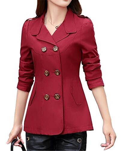 Jofemuho Womens Blazer Jacket Coat Double Breasted Casual Business Trench Coat Jacket Wine Red M by Jofemuho