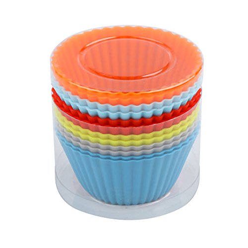 Silicone Baking Cups Meita 12PCS Reusable & Nonstick Cupcake Liners Chocolate Muffin Moulds Sets Colorful Cupcake Holders Gift set