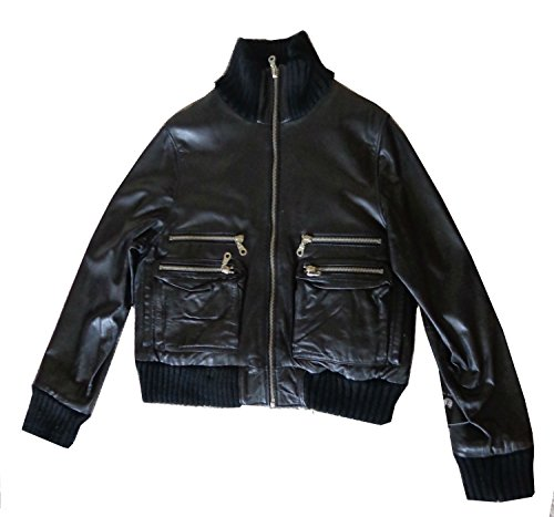 United Face Womens Heavy Soft butter Leather Jacket Black 4XL