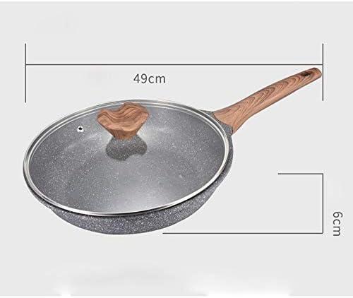 SHYOD Poêle à Frire avec Couvercle, poêle à la Pierre Non escamotable, poêle à Couvercle, Granit en Pierre Induction Compatible (Size : 28CM(49CM*6CM))