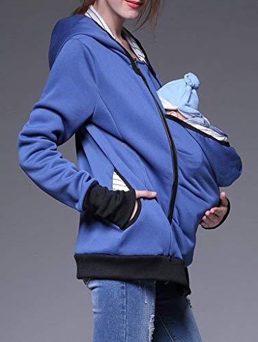 Relaxed Cerniera A Madre Donna Elegante Premaman Lunga Tasche Con Cappuccio Stlie Giacca Fashion Manica Casuale Outerwear Autunno Unique Sciolto Primaverile Confortevole Blau Chiusura qUx7XwAXT