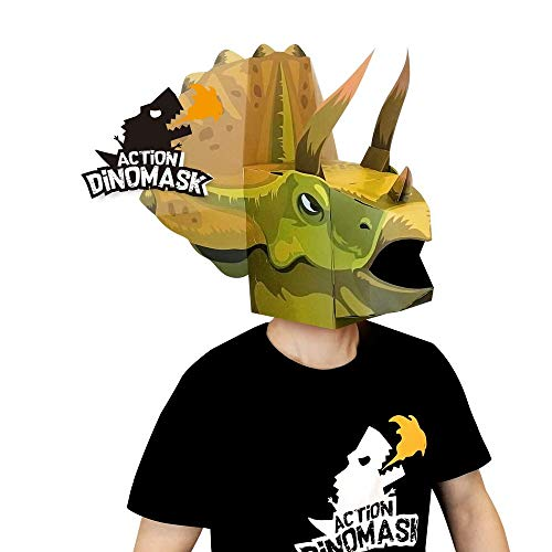 Action Dinomask: 3D Paper Dinosaur Mask for Adult, Triceratops Green ()