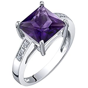 14K White Gold Diamond and Genuine or Created Gemstone Princess Cut Solitaire Ring Sizes 5 to 9