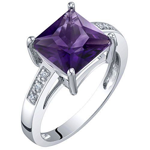 14K White Gold Genuine Amethyst and Diamond Princess Cut Solitaire Ring 2 Carats Size 9