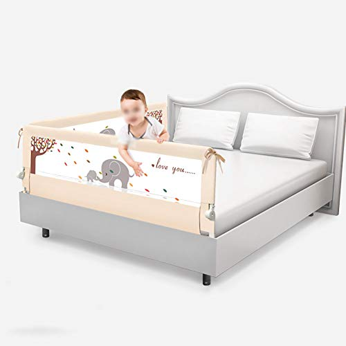 Bed Rail Children's Guardrail Family Bed Baby's Shatterproof Anti-Fall Baffle Bed Guardrail Cribbed Brace, 2 Sides, 1.5mX2m/1.8mX2m (Color : Beige, Size : 1.82m)