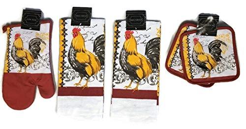 HomeConcept Farm Rooster Designer Kitchen linen Bundle Oven Mitt (1) Towels (2) Pot Holders -