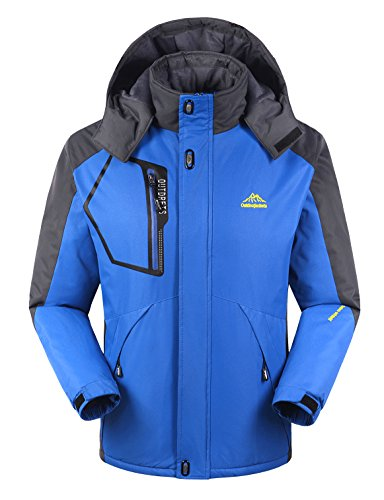 iLoveSIA Men's Mountain Waterproof Fleece Ski Jacket Windproof Rain Jacket Blue Size XL