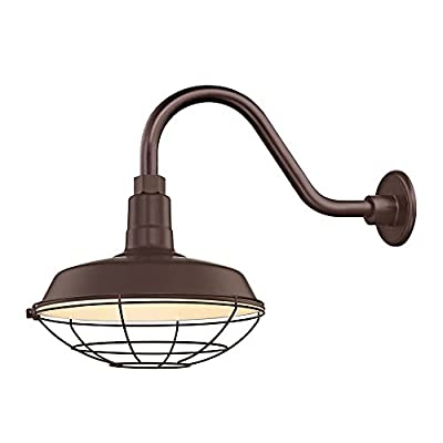 """Bronze Farmhouse Style Industrial Gooseneck Outdoor Barn Light with 12"""" Caged Shade for Wet and Damp Locations"""