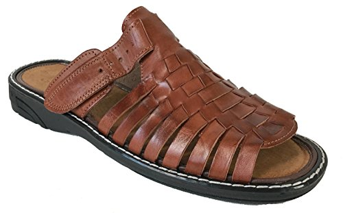 Men\u0027s authentic leather soft handmade Sandals (451,1) flip flop slip on  Huaraches Brown (12)