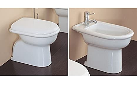 Sanitari bagno a terra ceramica azzurra elios vaso wc sedile